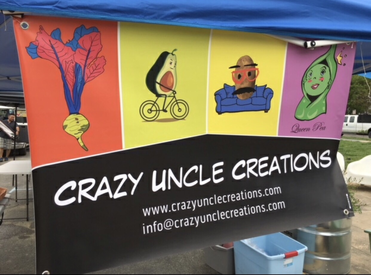 sign for Crazy Uncle Creations funny cartoons about healthy lifestyles