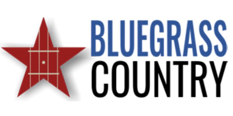 red star blue and black letters Bluegrass Country Radio logo