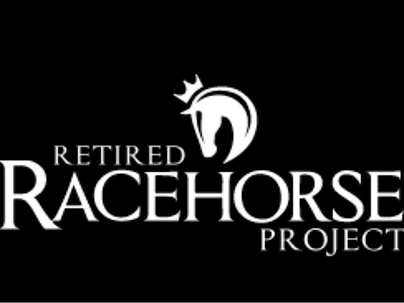 a horse shaped logo with a crown, black and white