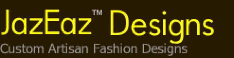 brown logo with yellow letters JazEaz Designes Custom Artisan Fashion designs TM
