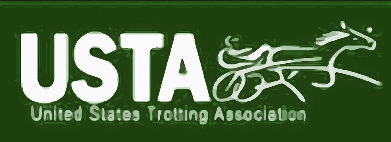 horse hooked to a cart logo white letters USTA
