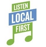 musical notes liste local first green and blue logo