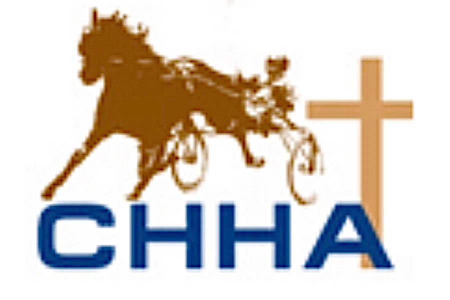 Brown harness horse with cross behind it. Christian Harness Horseman Association logo