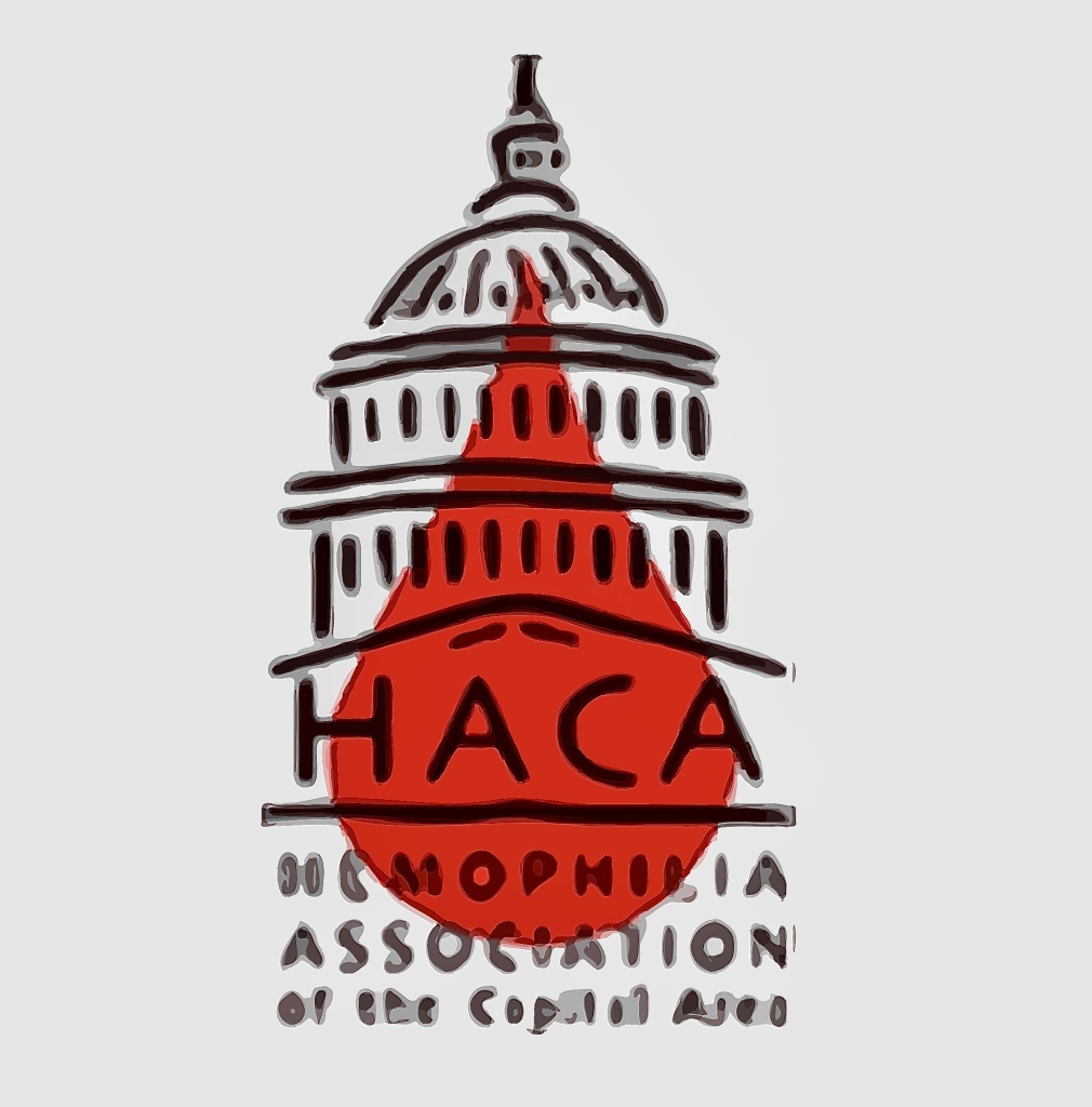 drawing of top of the Capitol Building with a drop of blood for the Hemophilia Association