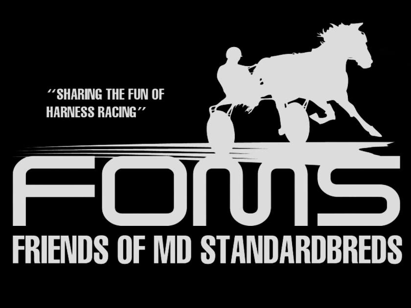 harness racehorse black logo white lettering Friends of Md Standardbreds